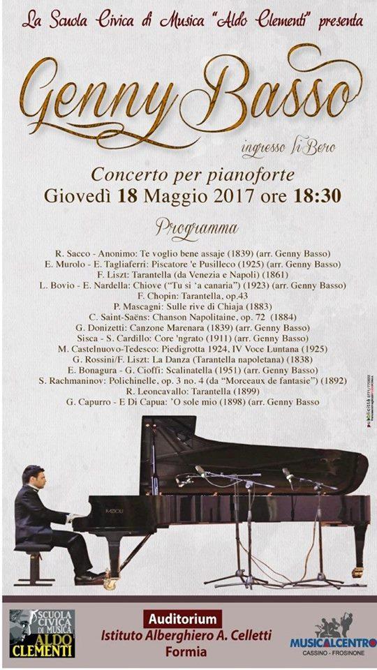 Il pianista Genny Basso in concerto