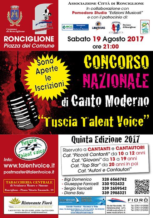 """5° Concorso di canto moderno 2017 Città di Ronciglione """"Tuscia Talent Voice"""""""