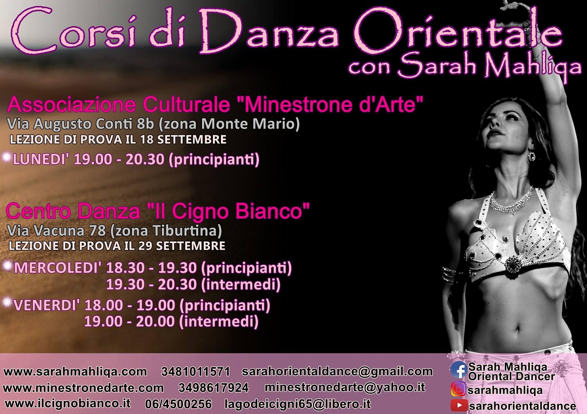 Nuovi corsi di Danza Orientale con Sarah Mahliqa a Roma (Monte Mario e Tiburtina)