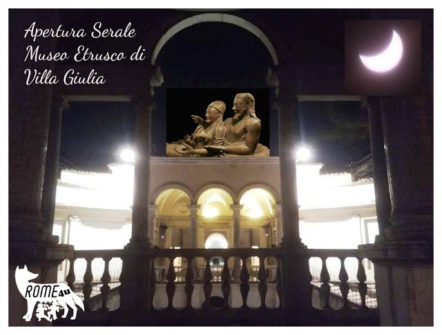 """Apertura """"serale straordinaria"""" di Villa Giulia e delle collezioni del Museo Nazionale Etrusco"""